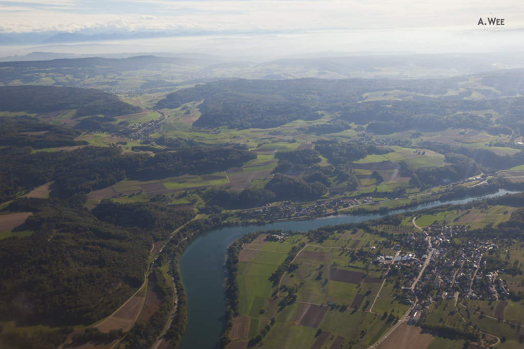 Flying across the Rhine into Switzerland