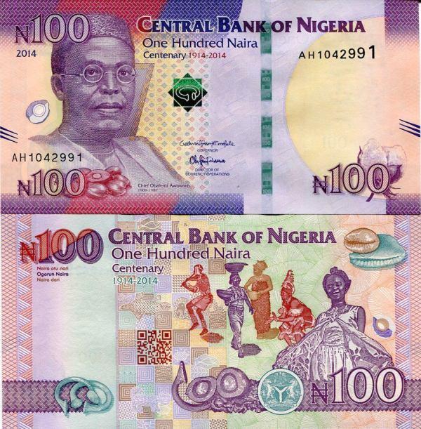 100 Naira Nigéria 2014, P41 UNC pamätná