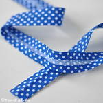 Royal blue & white spot bias binding