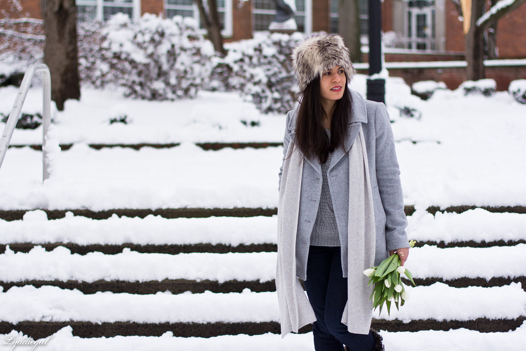 grey peacoat, grey sweater, snow boots, fur hat.jpg