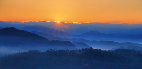 park sun mist mountains fog sunrise dawn great national smoky tenessee