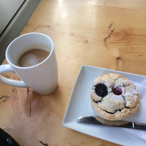 Coffee and scone @levacafe #yegfood