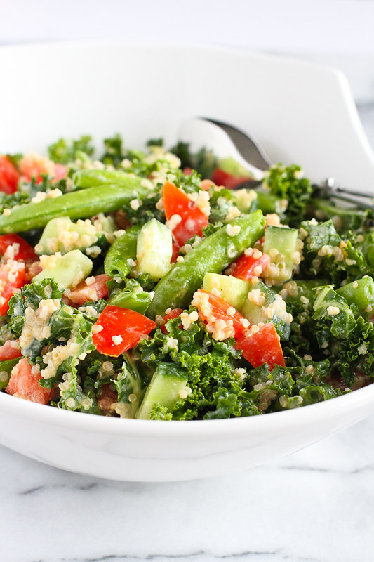 Quinoa Vegetable Salad with Tahini Dressing…A vegan salad that's packed with flavor and plenty of veggies! 102 calories and 3 Weight Watcher Freestyle SP