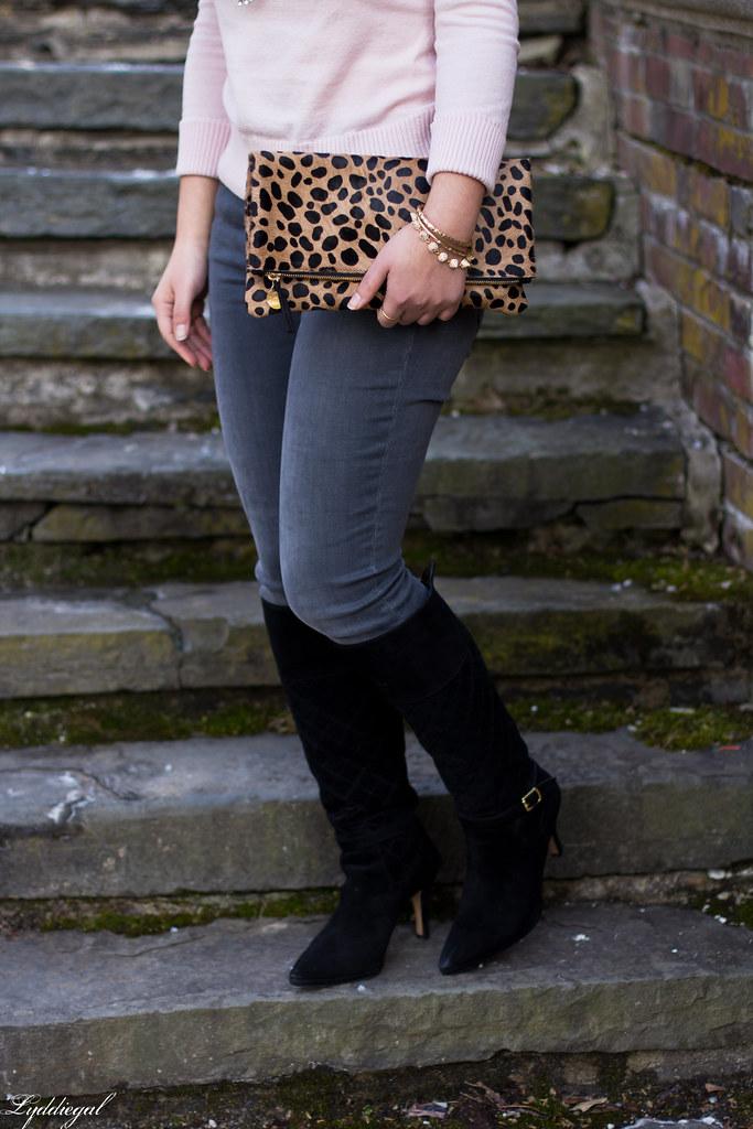 pink sweater, grey jeans, leopard clutch, black boots-7.jpg