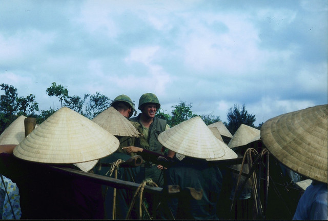 Members of 1st AMTRAC Battalion with Locals, Vietnam, circa 1966