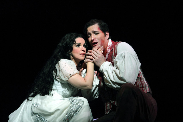 Riccardo Massi as Cavaradossi and Angela Gheorghiu as Tosca in Tosca in Tosca © ROH 2016. Photo by Catherine Ashmore