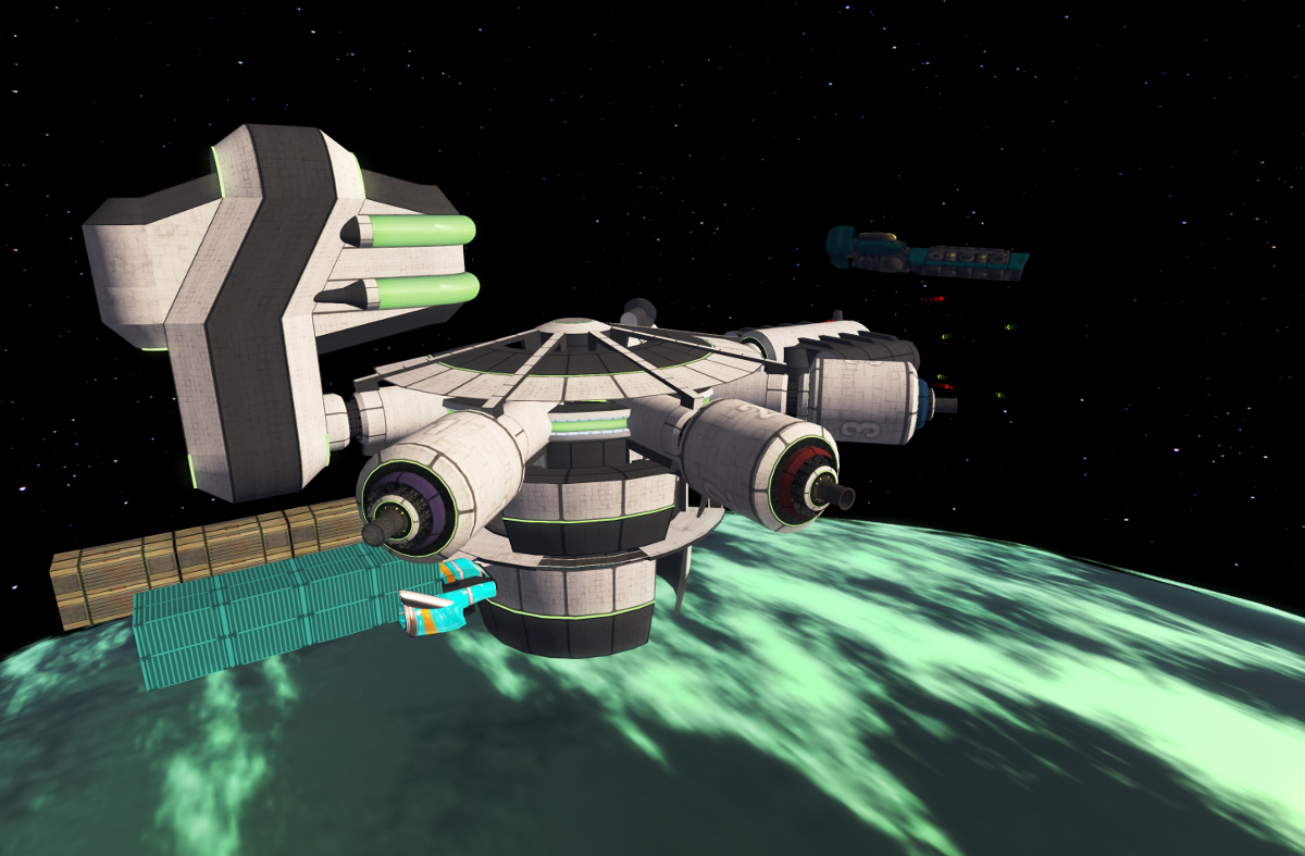 A space station above the planet where the platform city is located