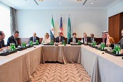 U.S. Secretary of State John Kerry sits with Saudi Arabia Foreign Minister Adel al-Jubeir (right) and Syrian Opposition Leader Dr. Riyad Nijab on February 11, 2016, before a three-way meeting focused on Syria preceding the Munich Security Conference. [State Department Photo/ Public Domain]