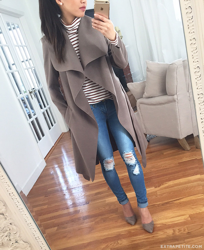 boohoo petites waterfall drape wrap coat