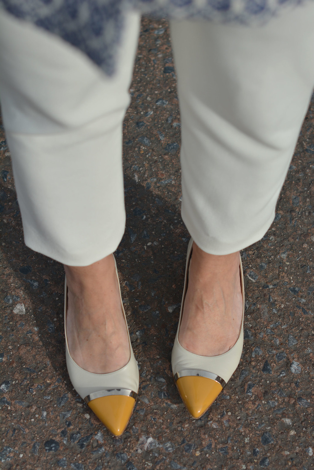 White cropped trousers, yellow/cream pointed fats | Not Dressed As Lamb