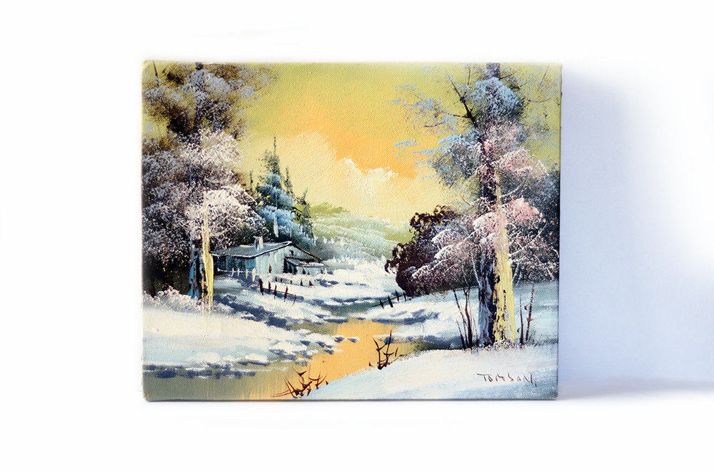 Vintage Winter Landscape Stretched Canvas Painting