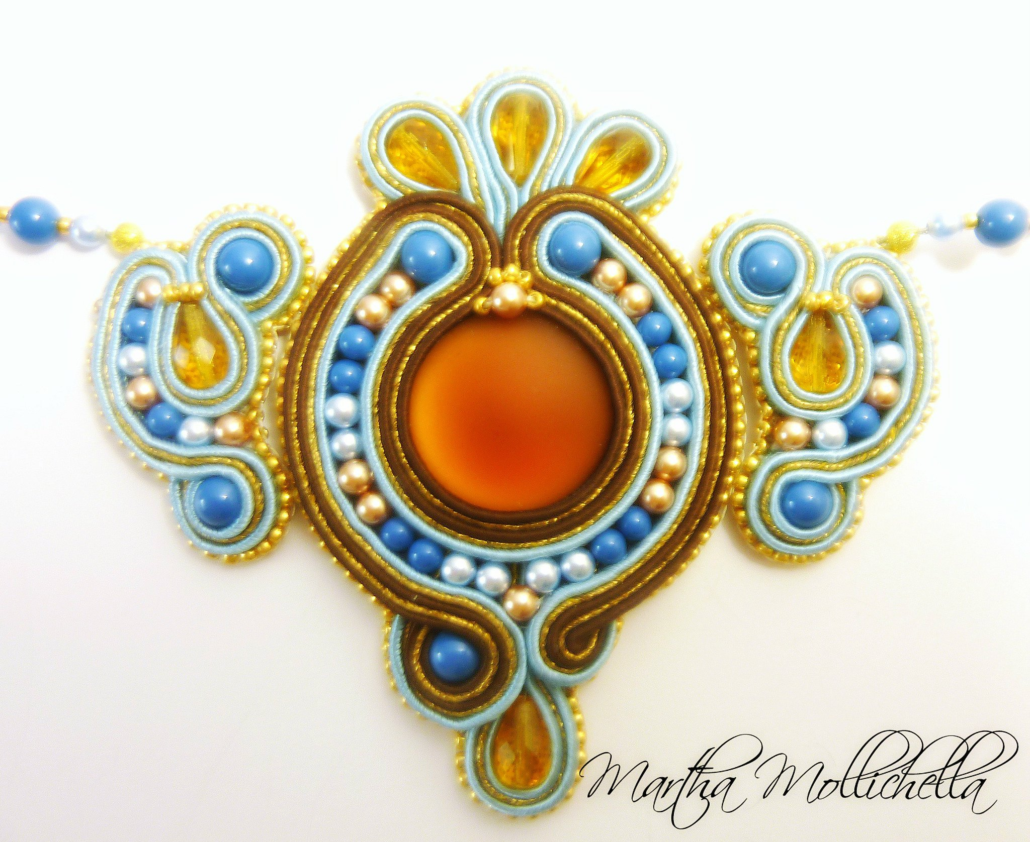 soutache jewels hand beaded jewellery hand made in Italy by Martha Mollichella Handmade jewelry