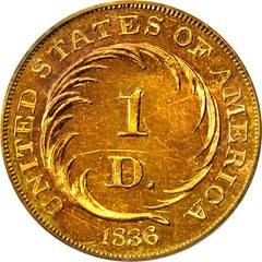 1836 Pattern Gold Dollar reverse
