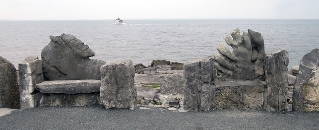 Unique stone benches on one of the Aran Islands in Ireland