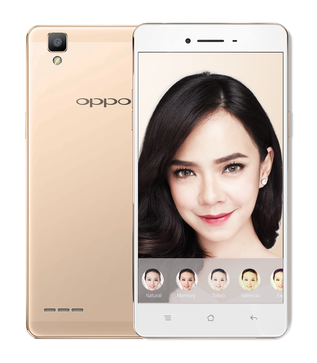 OPPO's Selfie Expert, F1 has a built-in Beautify 3.0 that offers a wide range of mood filters and seamless blemishes removing with instant highlight on subject's features
