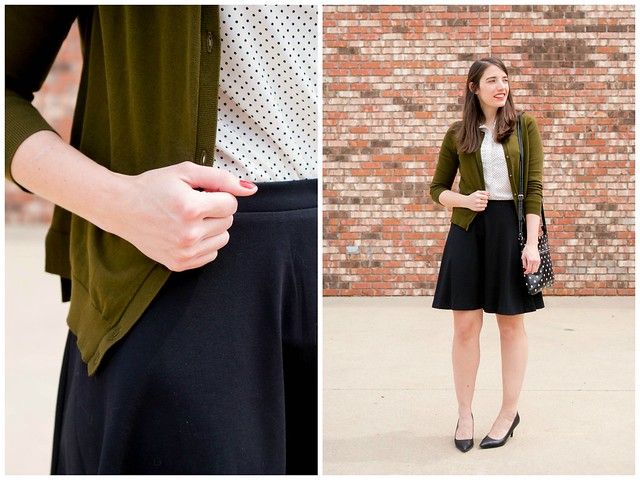 green cardigan + black skirt + polka dot shirt + polka dot purse, spring work outfit | Style On Target