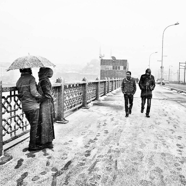 Snow at Galata bridge