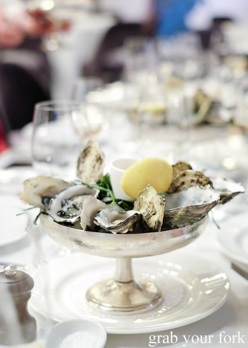 Freshly shucked Coffin Bay oysters at the Mayfair Hotel Mayflower Restaurant, Adelaide