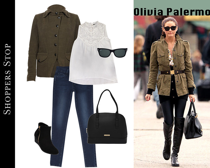 Olivia Palermo fashionista stylist Celebrity Style for less shopper stop ray ban caprese denims military jacket white lace top street style black boots sunglasses