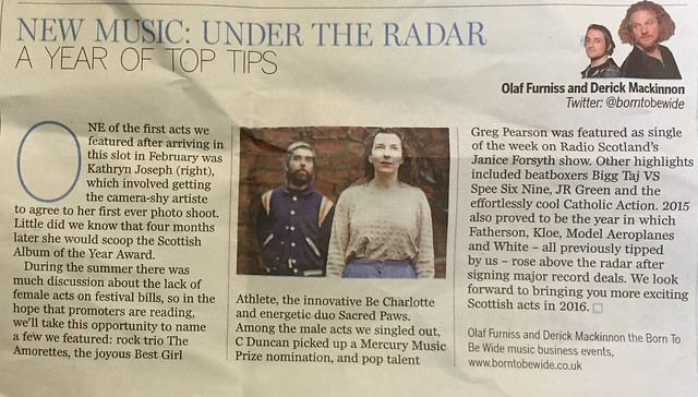 Olaf Furniss and Derick Mackinnon, Scotland On Sunday, Spectrum Magazine, 2015 Round Up