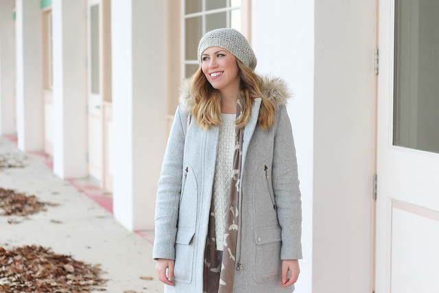 Casual Bundled Up Winter White Outfit with J.Crew Chateau Parka