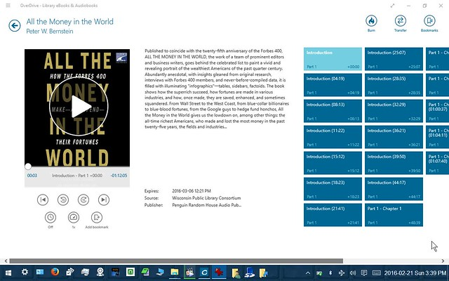 Overdrive for Windows on Windows 10 Tablet: Listen to an Audio Book