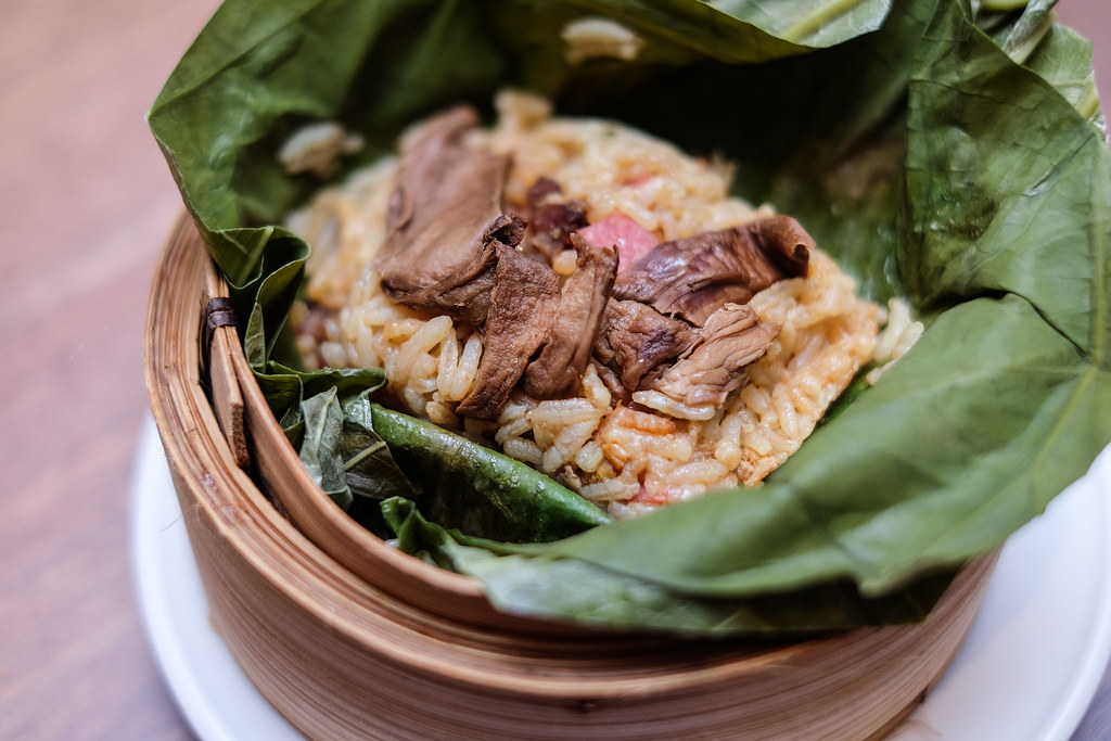 Tian Fu Tea Room: Fried Rice with Waxed Meat Wrapped in Lotus Leaf