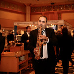 Saxophonist during evening cocktail reception