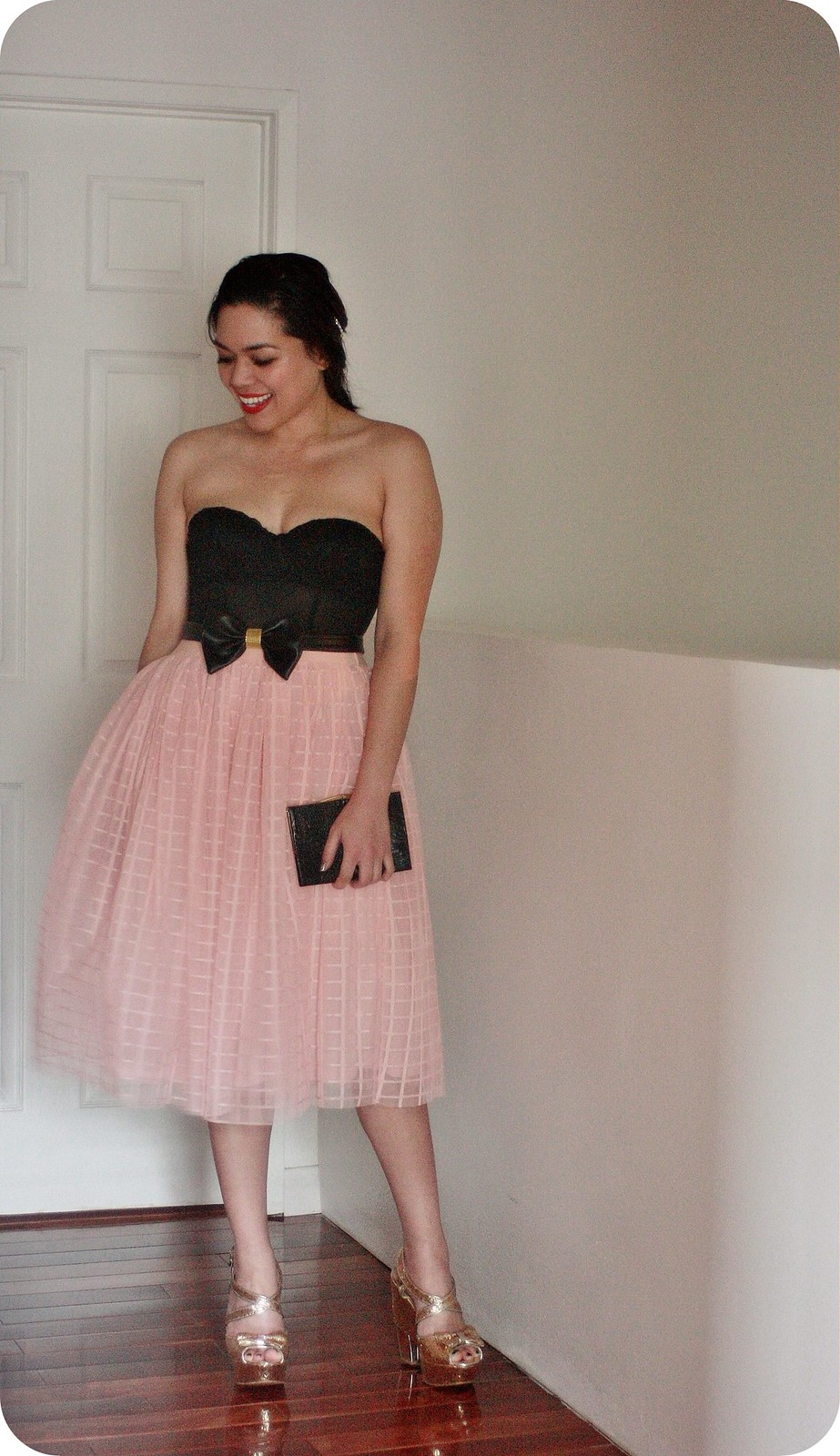 BooHoo Prom 2016 featuring pink tulle midi skirt and Melissa Velia bow belt