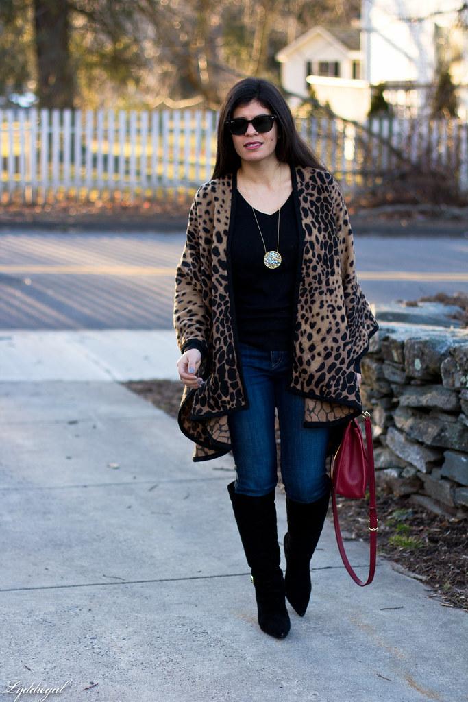 leopard poncho, black tee, black boots, red coach bag-3.jpg