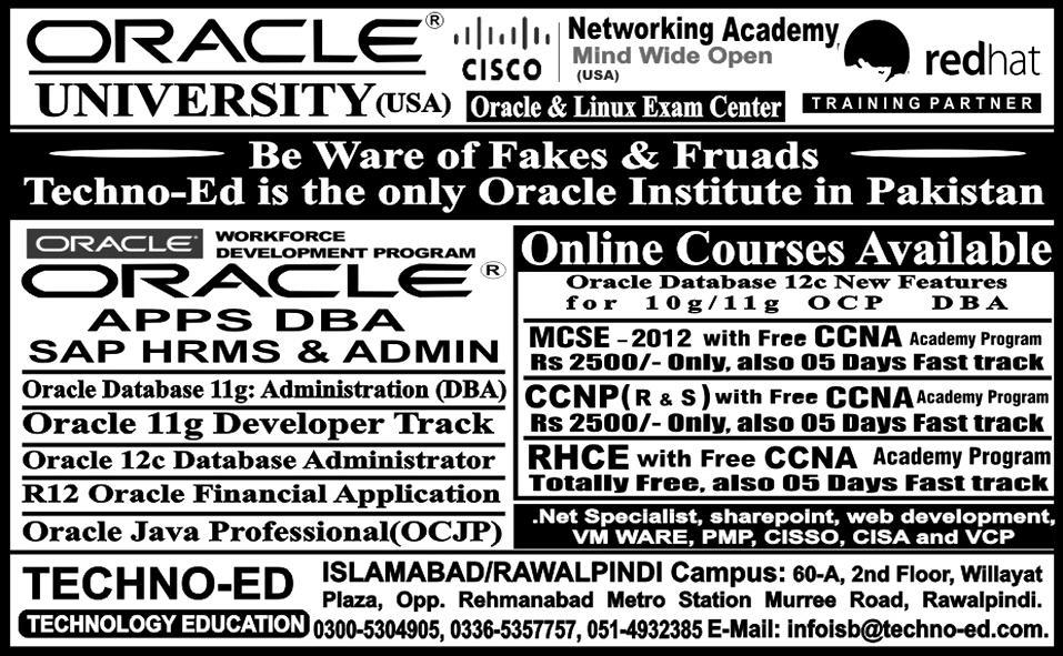 TechnoEd Pakistan ORACLE Courses