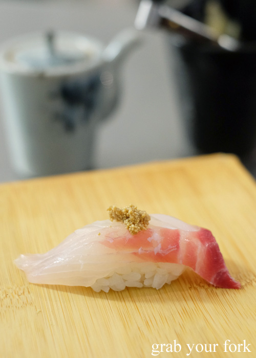 Kampachi sushi with cooked snapper roe at Sashimi Shinsengumi, Crows Nest