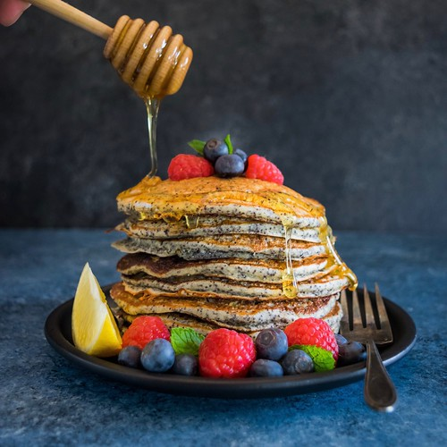 lemon poppyseed pancakes with honey butter