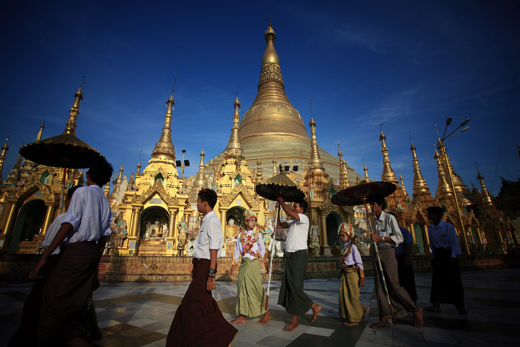 Initiation Of Buddhist Novices At The Shwedagon, Burma