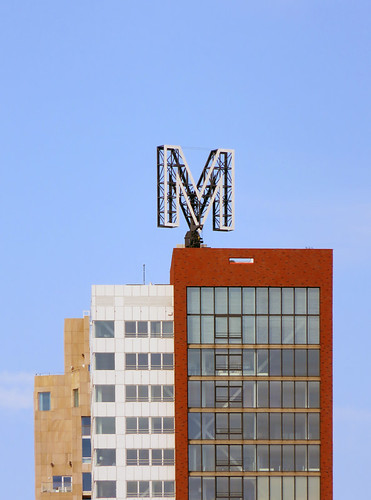 Geometric Architecture with the Letter M in Rotterdam, Holland