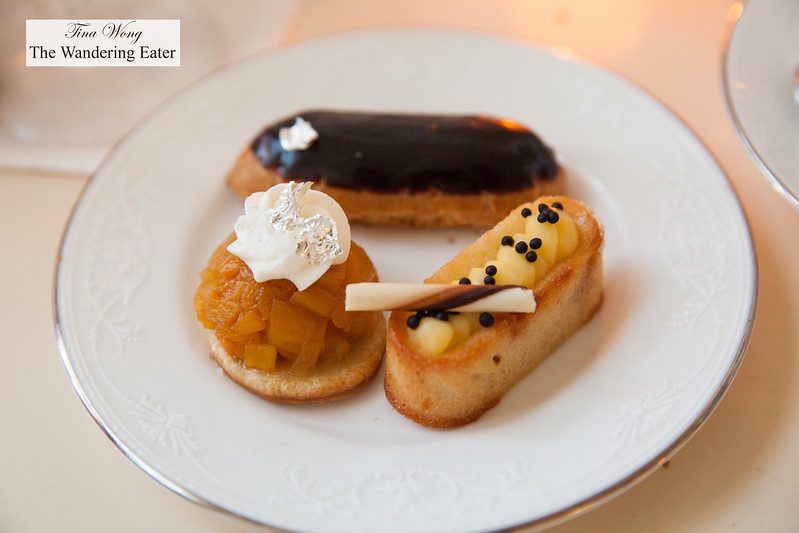 Pineapple financier and mango tatin and chocolate eclair