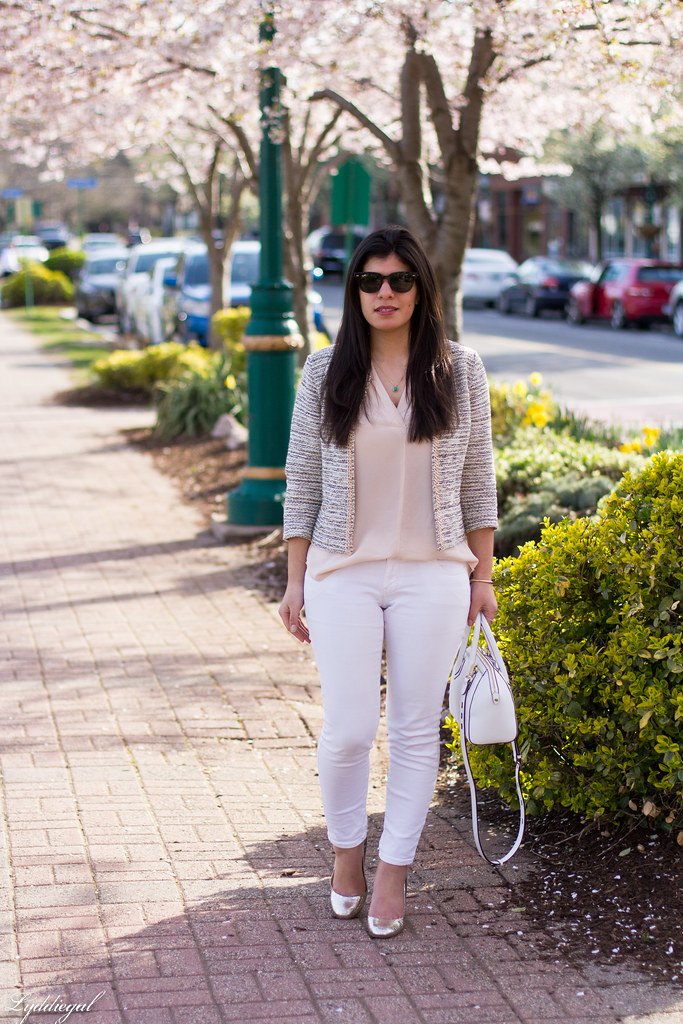 silk blouse, jacket, white jeans, silver pumps.jpg