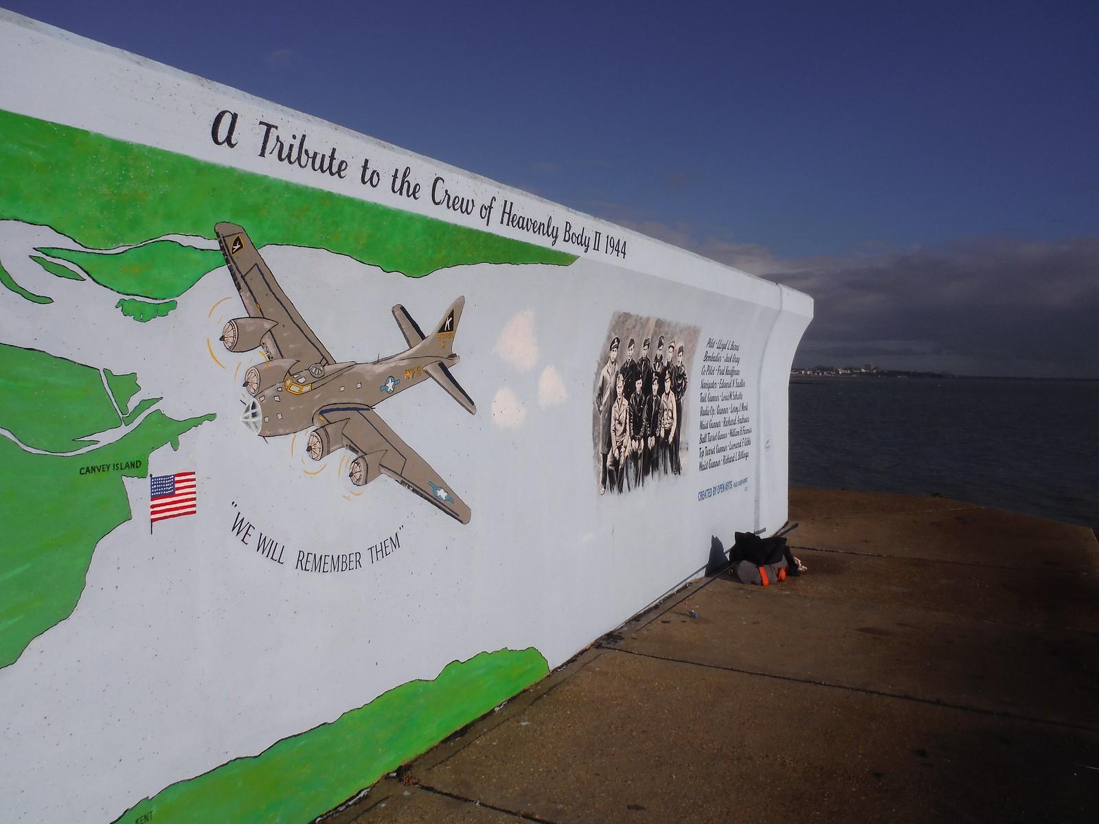 B17-G Aircraft Collision Mural, southeast corner of Canvey Island SWC Walk 258 Benfleet Circular (via Canvey Island)