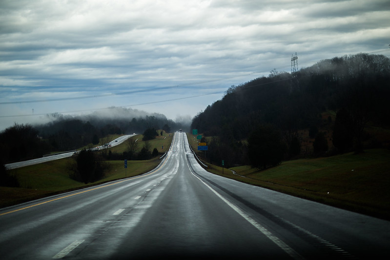 Alabama highway in the fog
