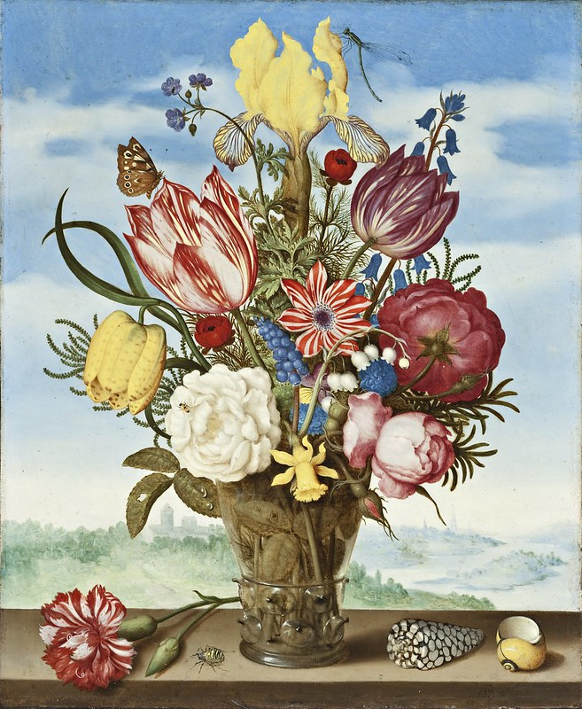 Ambrosius Bosschaert - Bouquet of Flowers on a Ledge (c.1620)