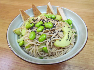 Spicy Soba Salad with Edamame and Cucumber