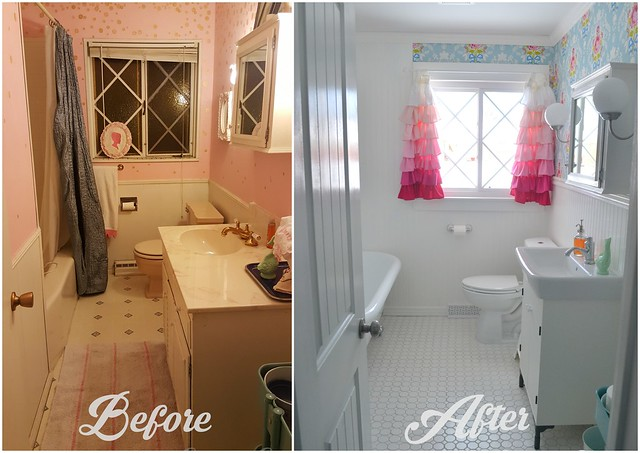 Our bathroom remodel before after last day ago for Bathroom renovation before and after