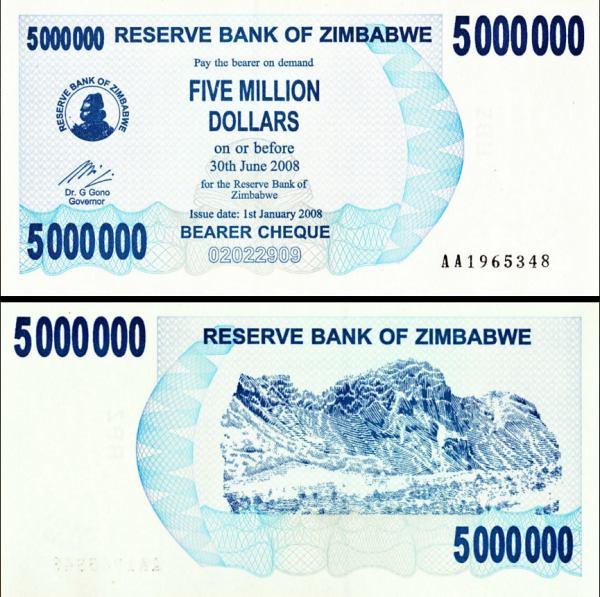 Zimbabwe p54: 5000000 Dollars from 2008