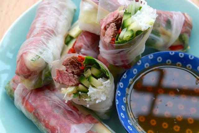Vietnamese Steak Summer Rolls | www.rachelphipps.com @rachelphipps