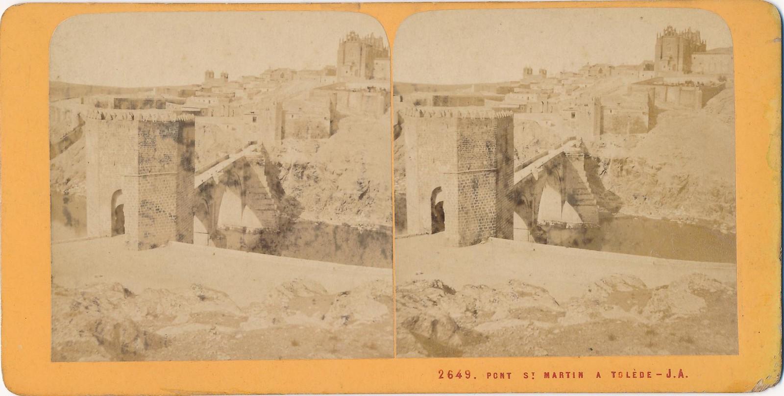 Puente de San Martín en 1868. Fotografía estereoscópica de Jean Andrieu con número de serie 2649