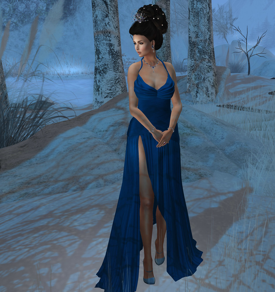 Classic Hollywood Gown, blue, Pish Posh