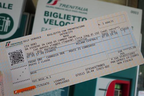 ticket to Milano