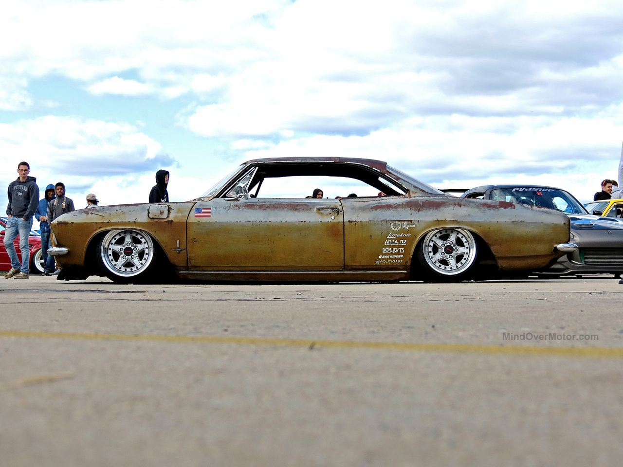 Slammed Chevrolet Corvair at First Class Fitment 2