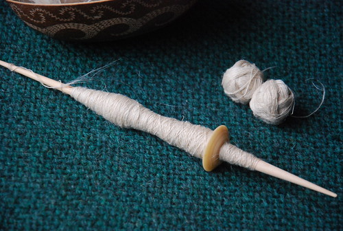 Spinning hemp top on Tom Forrester supported spindle cow bone whorl