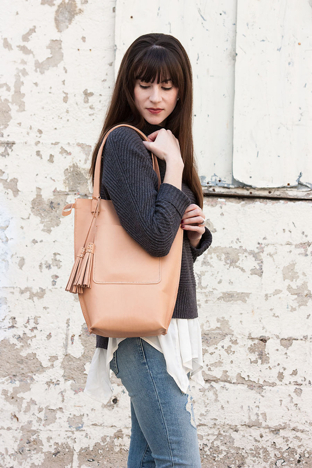 Minnie and George Leather Tote, Neutral Layered Outfit